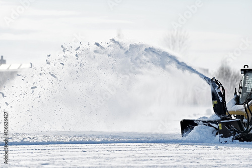 Industrial snow removal machine Canvas Print