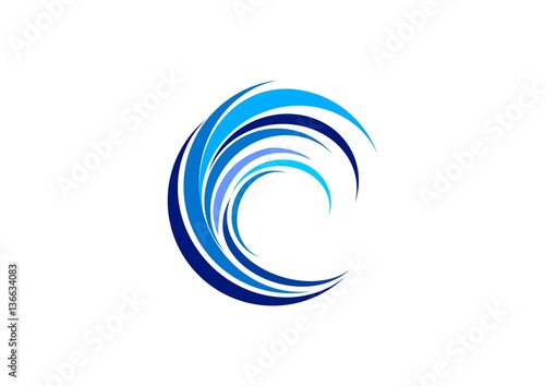 wave circle logo swirl blue waves water symbol icon letter c elements wave vector
