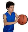 Teen sportsman playing basketball