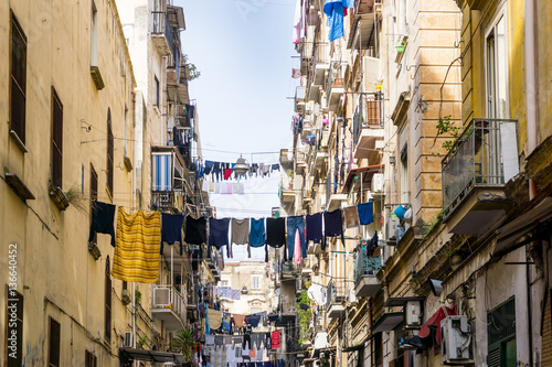Photo Stands Napels Street view of old town in Naples city, italy Europe