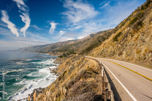 Ingelijste posters Kust Highway 1 on the pacific coast, California, USA.