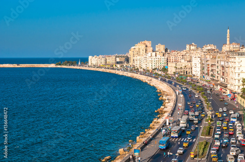 Photo Stands Egypt View of Alexandria harbor, Egypt