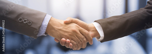 Photo  investor businessman handshake together:agreement,accept,approve financial cooperative concept