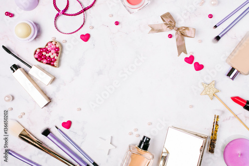 Background with a set of accessories to make-up