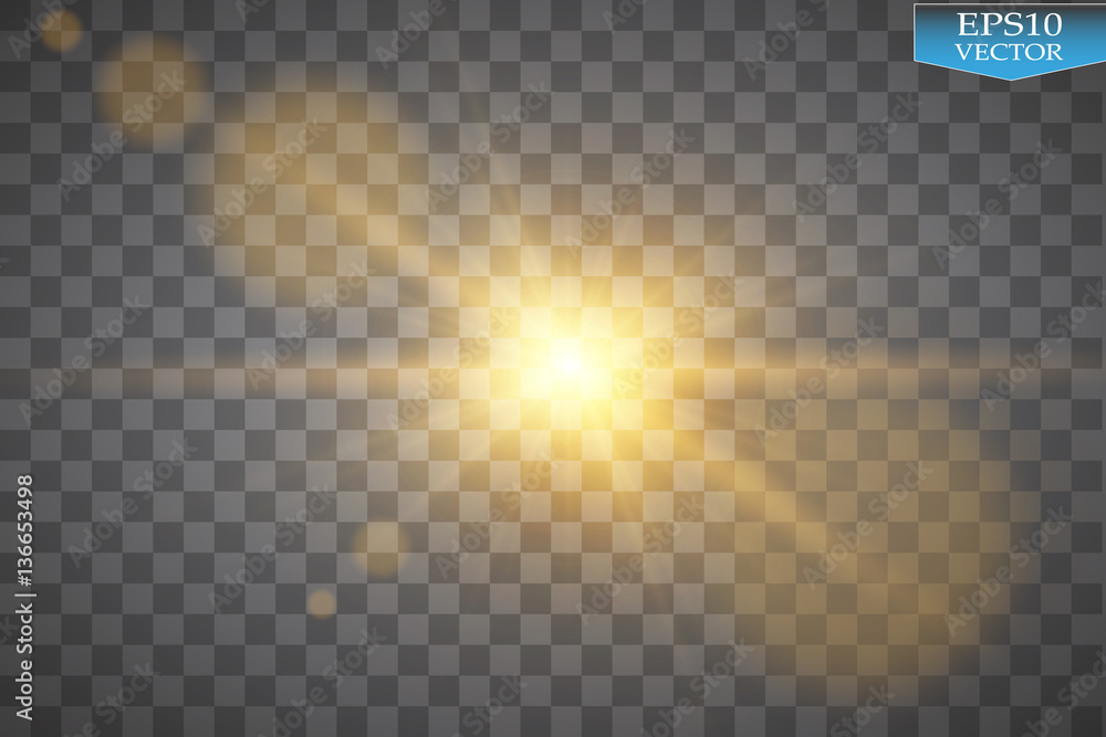 Fototapety, obrazy: Vector transparent sunlight special lens flare light effect. Sun flash with rays and spotlight