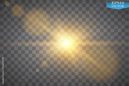 Fototapeta Vector transparent sunlight special lens flare light effect. Sun flash with rays and spotlight