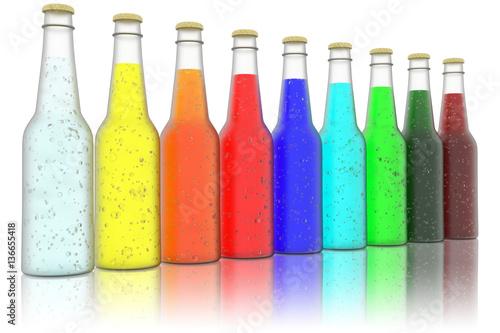 Fotografie, Obraz  Bottiglie bibite rinfrescanti colorate su sfondo bianco.