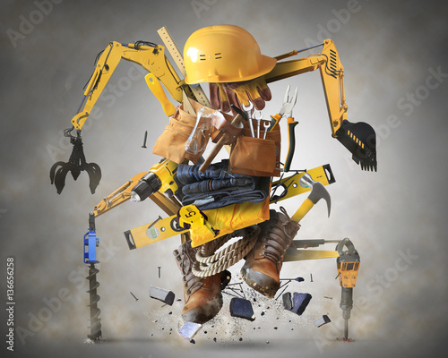 Building tools and equipment like a constructiion robot Fototapete
