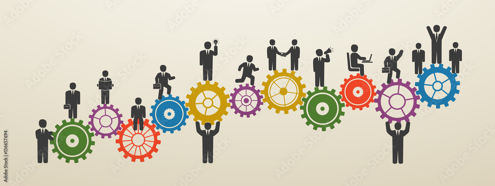 Fototapeta Teamwork, business people in motion, workforce. Concept business people on gear wheels. Motivation for success.