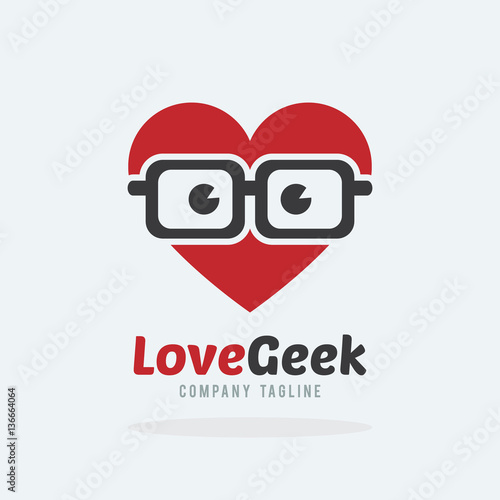 Love geek with hipster glasses logo template. Heart avatar wearing ...