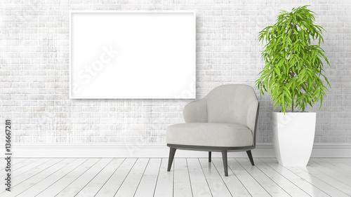 Fototapeta Modern bright interior with empty frame . 3D rendering obraz na płótnie
