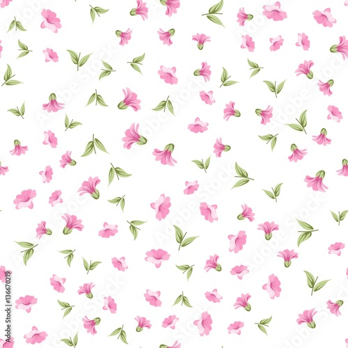 Elegant Flowers Fabric With Seampless Pattern Spring Flowers