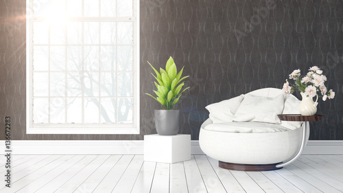 Foto op Canvas Bomen Modern bright interior with large window . 3D rendering