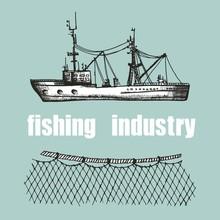 Fishing Trawler And Nets Vector Illustration