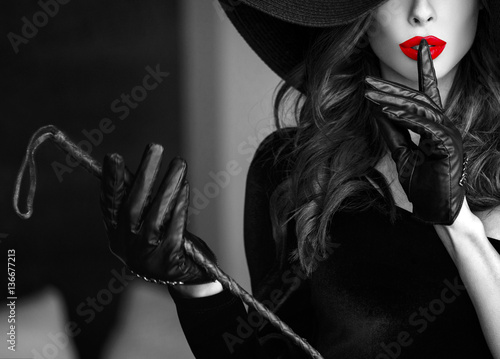 Obraz Sexy woman do not talk selective coloring book cover template - fototapety do salonu