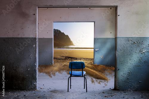 Surrealer und verträumter Strandblick