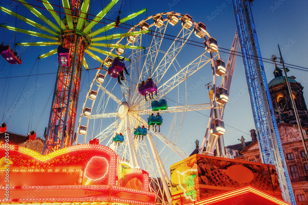 Fototapety, obrazy: amusement park carousel Beautiful night lighting
