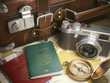 Travel or turism background concept. Old suitcase, passports