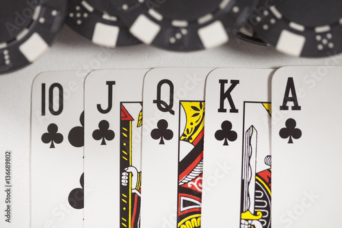 фотография  Gambling chip,Playing cards and poker