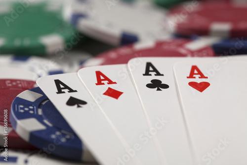 Gambling chip,Playing cards and poker плакат
