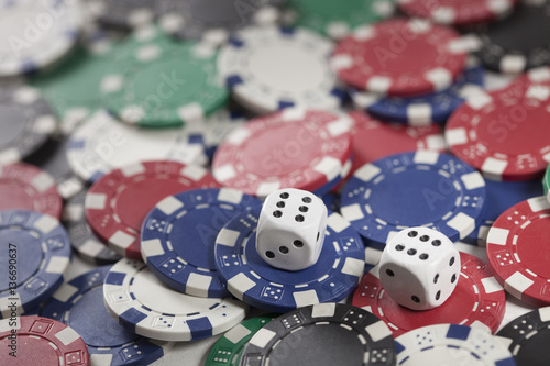 Gambling chip and Game dice плакат