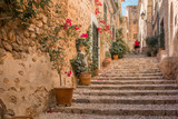 Fototapeta Fototapety na drzwi - stairs in medieval street in tuscany
