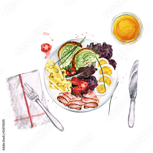 Door stickers Watercolor Illustrations Breakfast or lunch food platter. Watercolor Illustration