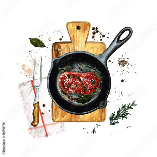 Door stickers Watercolor Illustrations Steak in a frying pan. Watercolor Illustration