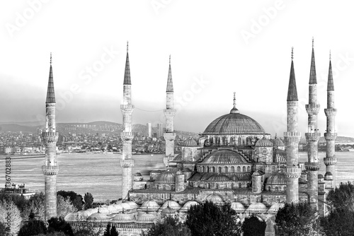 Foto  The Blue Mosque, (Sultanahmet Camii), Istanbul, Turkey.