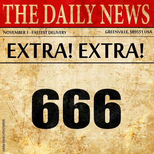 Fototapeta  666, article text in newspaper