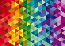 Vector Geometric Background, Mosaic Of Triangles And Cubes In Ra