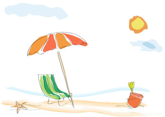 Vector background summer on the beach, childish drawing handmade