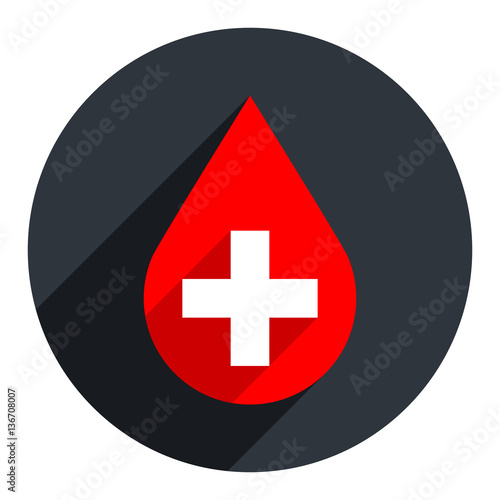 Fotografie, Obraz  Red Drop Icon First Aid Donate Blood Sign
