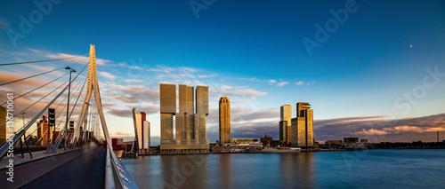 Photo sur Toile Rotterdam Erasmus Brücke, Rotterdam, Holland, Niederlande
