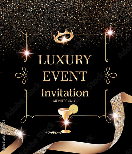 Luxury event invitation card with vintage frame and gold textured luxury event invitation card with vintage frame and gold textured curly ribbon vector illustration stopboris Image collections
