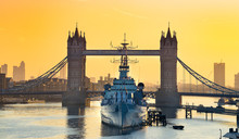 HMS Belfast Moored In Front Of...