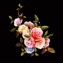 Fototapeta Róże Flowers. Bouquet of roses and peony. Vintage picture, can be used as invitation, greeting card, print on clothes, etc. Hand drawn flowers. Vector - stock.