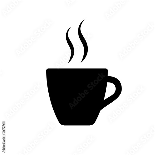 Espresso icon. Strong coffee in espresso cup and smoke. Vector Illustration