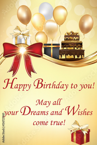 Birthday greeting card - May all your Dreams and Wishes come true ...
