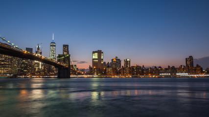 Fototapeta na wymiar Brooklyn Bridge After Sunset