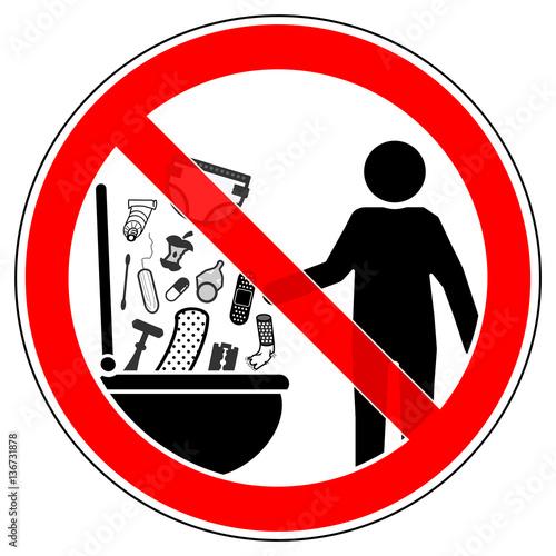 фотография  srr136 SignRoundRed - german - Verbotszeichen: WC / 00 / Keine Gegenstände in di