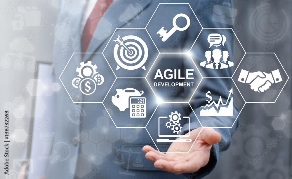 Fototapety, obrazy: Agile development software business web computer agility nimble quick fast start up concept