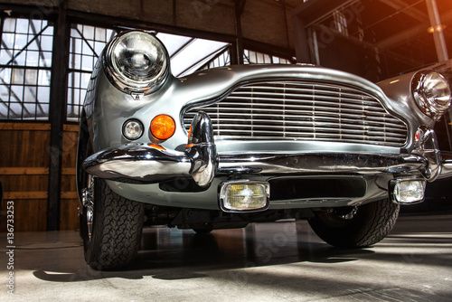 closeup of the headlights and front bumper Canvas Print
