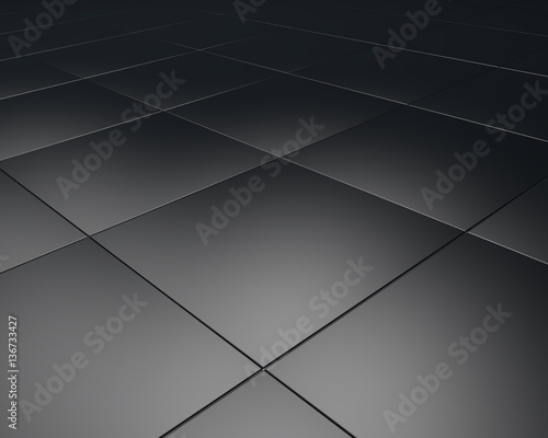 Fototapeta Black floor tiles texture industrial background. 3D material design illustration. obraz na płótnie