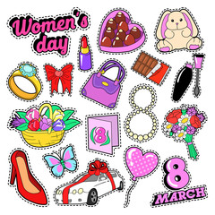 Womens Day 8 March Elements Set with Flowers and Cosmetics for Stickers, Badges, Patches. Vector doodle