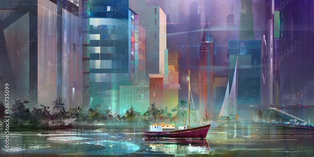 Fototapety, obrazy: drawn fantasy landscape of the future city