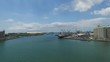 Port in Mauritius with ships and Indian Ocean. Port Louis.