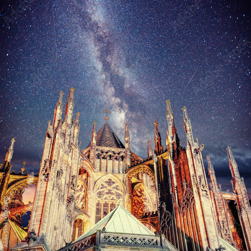 Fotografie, Obraz  Prague St. Vitus Cathedral. Night time starry sky