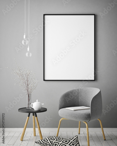 mock up poster frame in hipster interior background, scandinavian style, 3D rend Canvas-taulu