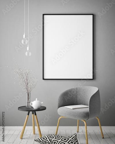 Fotografia, Obraz  mock up poster frame in hipster interior background, scandinavian style, 3D rend